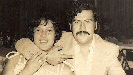 "Pablo Escobar and wife Victoria Eugenia 'Tata' Henao.  ""The flowers for the penthouse of Monaco building of 1,600 square meters and two floors were picked up twice a week in Bogotá on my father's plane. When my mother asked permission to do it, my father said, ""My love, if Onassis sent hot bread to Paris for Jackeline, I send a plane to bring you flowers from Bogotá,"" "" - Juan Pablo Escobar/Sebastian Marroquín."