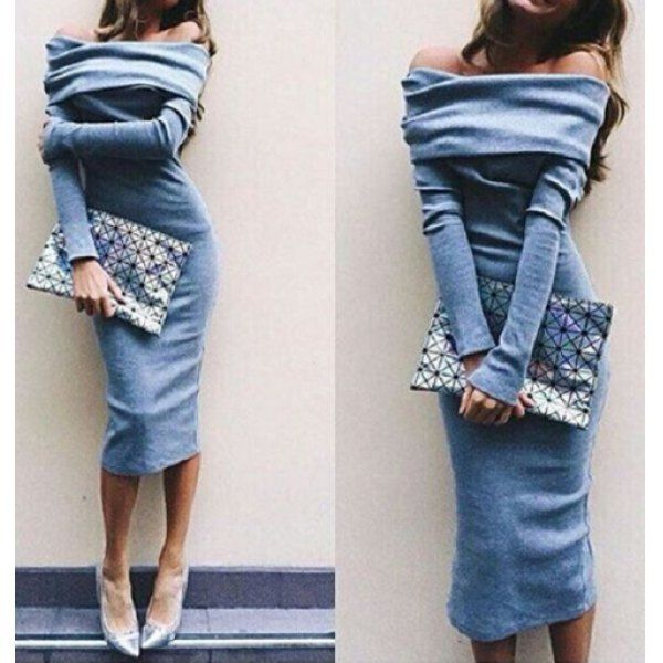 Wholesale Sexy Off-The-Shoulder Long Sleeve Solid Color Bodycon Women's Dress Only $6.35 Drop Shipping | TrendsGal.com