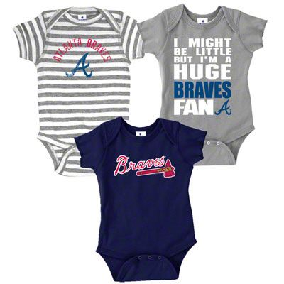 Atlanta Braves Infant Baby Rib Creeper 3-Pack $25.99 I freaking want these!!! Ahhh