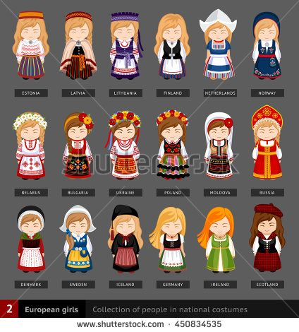 European girls in national dress. Set of european woman dressed in national clothes. Collection of people in traditional costume. Vector flat illustration.