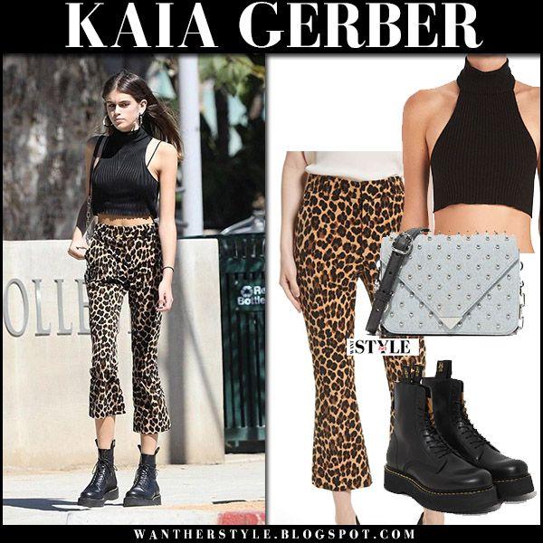Kaia Gerber In Black Crop Top Leopard Print Frame Pants And Black Combat Boots