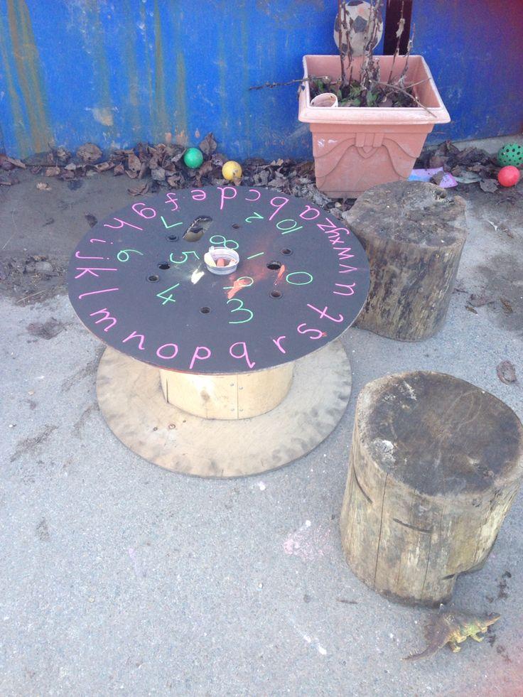Newark making blackboard table for outdoors