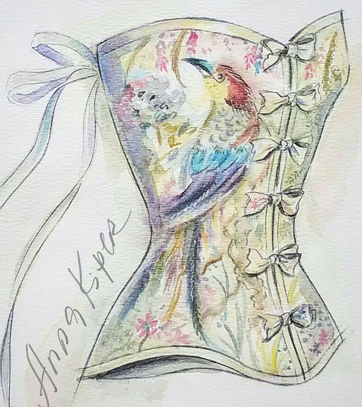 My watercolor drawing for Maggie Norris Couture. #annakiper #fashion #dailylook #dailysketch #fasiongram #fashionista #sketchbook #fashionillustration #drawadot #drawing #watercolor #couture #corset #illustration #image #instaart #instaartist #maggienorriscouture #beautifulbizarremagazine #фэшн #мода #рисунок