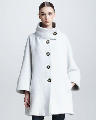 Funnel-Neck Fleece Swing Coat by Armani Collezioni at Bergdorf Goodman.