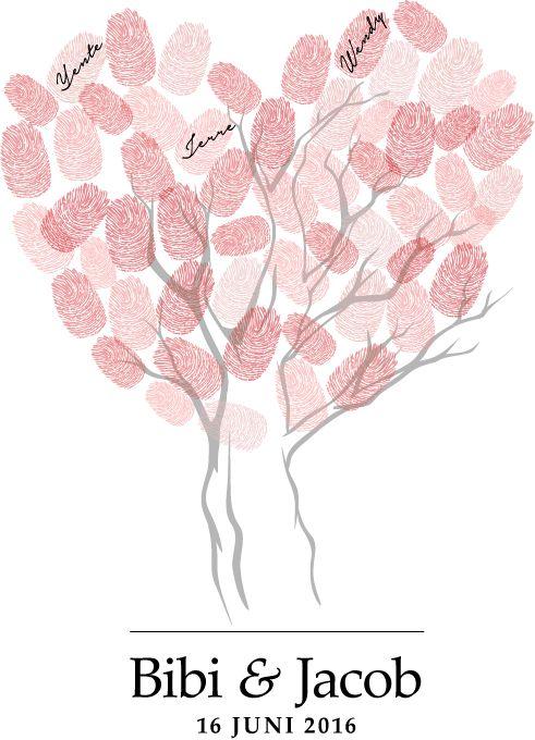 """Fingerprint tree, Thumbprint tree of Vingersfdruk boom. Vintage alternatief voor het traditionele gastenboek. Elke gast laat zijn of haar vingerafdruk (en naam) achter, waardoor er een """"tree of love"""" ontstaat..."""