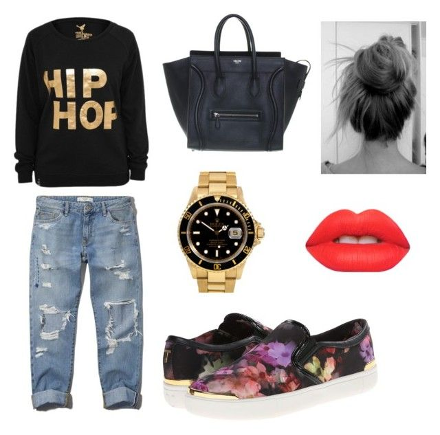 """""""Luxurious hip hop """" by cozyncomfy on Polyvore featuring Abercrombie & Fitch, CÉLINE, Rolex, Ted Baker and Lime Crime"""