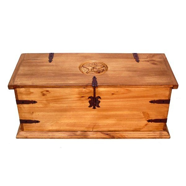 "Million Dollar Rustic [52109-198590] - Model 08-02-TX - Rectangle Trunk with Star - Free Shipping - Finish: Rustic - Dimensions: (BackToFront): 16"" - Height: 16"" - Width: 39.5""  39"" trunk with iron hinges & latch  Product usually leaves the warehouse in:4-6 Days - $416 from Linens n Things as of 12/13/12.  Product will ship via: UPS/Fedex Ground"