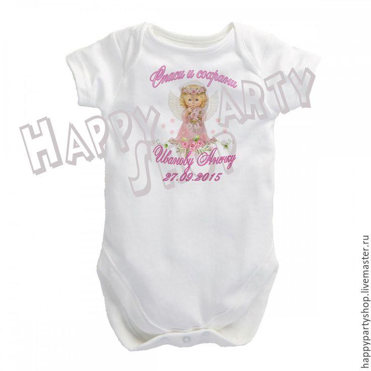 Купить Бодик детский на крещение - белый, рисунок, футболка на крестины, футболка с ангелом, ангел