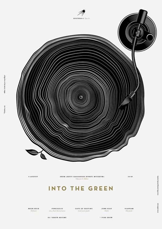 재즈 포스터 디자인이라고는 하지만 레코더 판을 나이테로 표현한 것으로 보면 '세월을 듣는다' 라는 말이 떠오른다. 영감을 주는 포스터라 좋다.