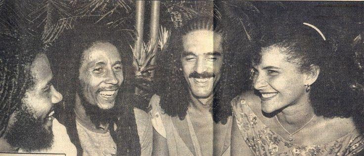 *Jacob Miller*, Bob Marley, Moraes Moreira & Marina Lima. More fantastic pictures and videos of *Bob Marley & Jacob Miller* on: https://de.pinterest.com/ReggaeHeart/