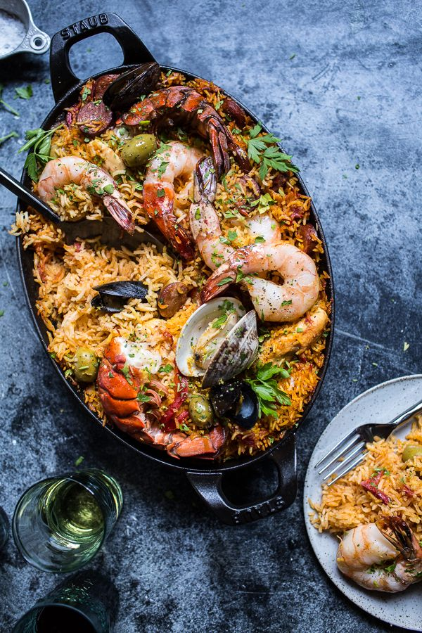 {Skillet grilled seafood and chorizo paella.}