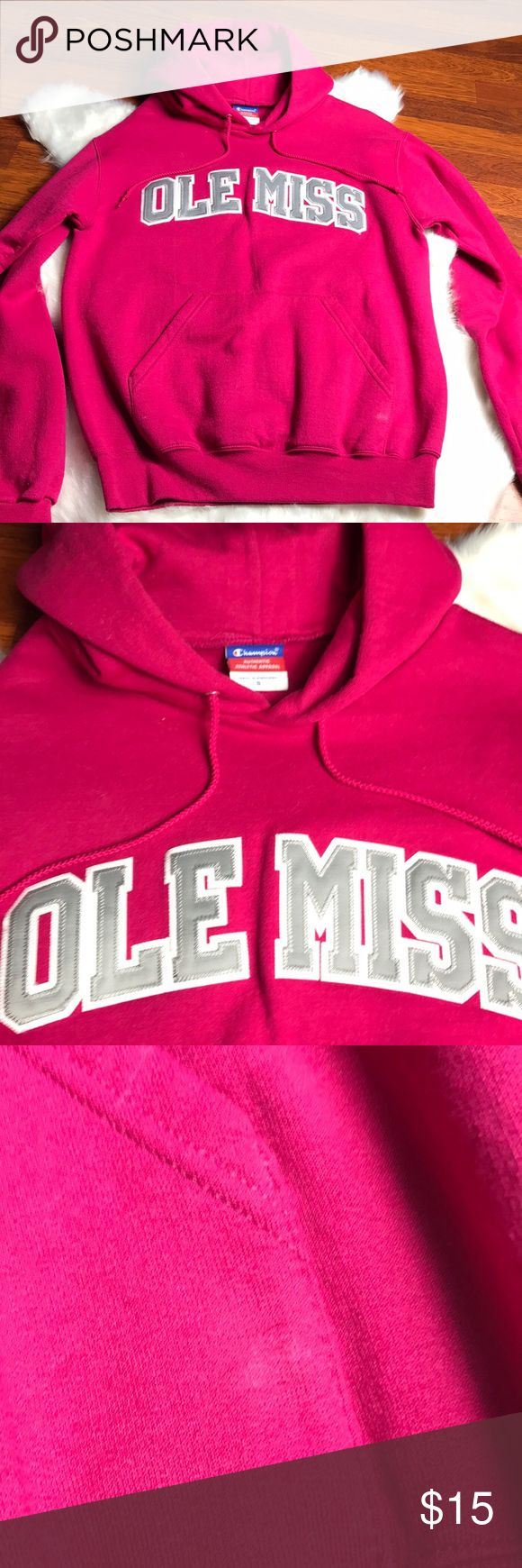 Women's Ole Miss Hoodie Hot Pink Ole Miss Hoodie, in great condition. They have one small spot in pictures that's hasn't been treated.  Looks like just part of the color to me! Champion Jackets & Coats