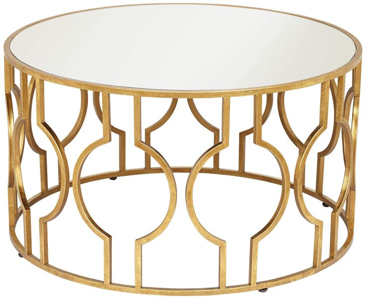 Silver Glass Tops This Antique Gold Leaf Finish Round Coffee Table For A Beautiful Look Fara Round Coffee Table In Antique Gold Leaf Finish