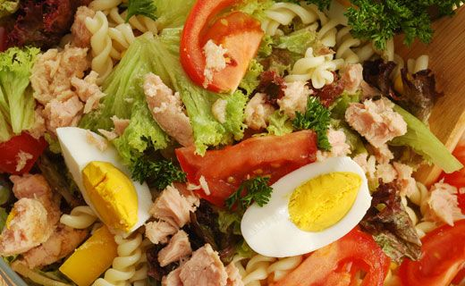 Nicoise Pasta Salad . . .2 cups rotini pasta, 1 recipe Epicure's Classic Vinaigrette Seasoning, or Epicure's Italian Dressing Seasoning, 2 cp halved cherry tomatoes,  1/2 cp Greek-style black olives, 4 hard boiled eggs, cut in wedges and 2 -170 g cans water-packed chunk tuna . . . . Whisk Dressing in mixing bowl and set aside. Cook pasta according to package directions. Drain and rinse. Place pasta in bowl with dressing. Add remaining ingredients, tossing gently to coat.