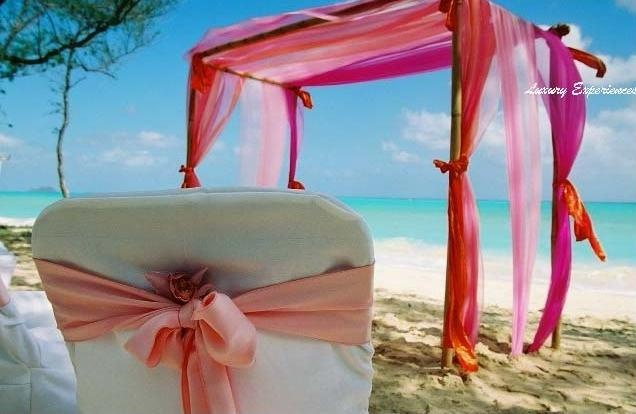 Color is very important in a fun tropical Wedding, although this is super simple, I would like to see a few flowers on it!