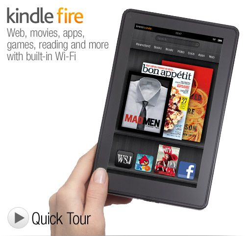 The Kindle Fire is a 7-inch tablet that links seamlessly with Amazon's impressive collection of   digital music, video, magazine, and book services in one easy-to-use package. It boasts a great   Web browser, and its curated Android app store includes most of the big must-have apps   (such as Netflix, Pandora, and Hulu). The Fire has an ultra-affordable price tag, and the screen   quality is exceptional for the price. $199.00