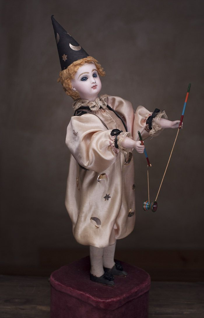 """19 and 1/2"""" (50 cm) Antique French Bisque Automaton """"The Clown with Diabolo"""" by Roullet & Decamps - fully original, Jumeau head.  Respectfulbear  Rubylane"""