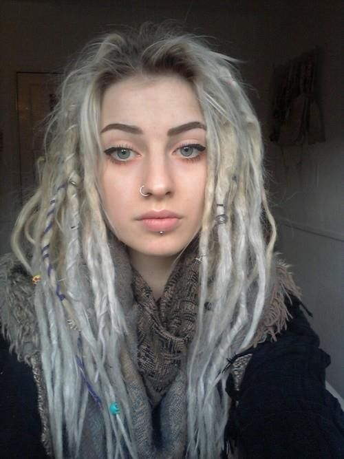silver/white dreads #dreads