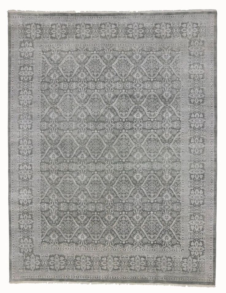 Modern Gray Rug with Transitional Style | From a unique collection of antique and modern indian rugs at https://www.1stdibs.com/furniture/rugs-carpets/indian-rugs/