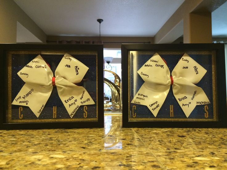 Cheer banquet gifts for Seniors. Shadow boxes with autograph bows from CheerCandi.