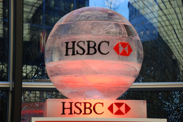 Ice sculpture - HSBC Logo in ice Showcase your company logo in ice for maximum impact.