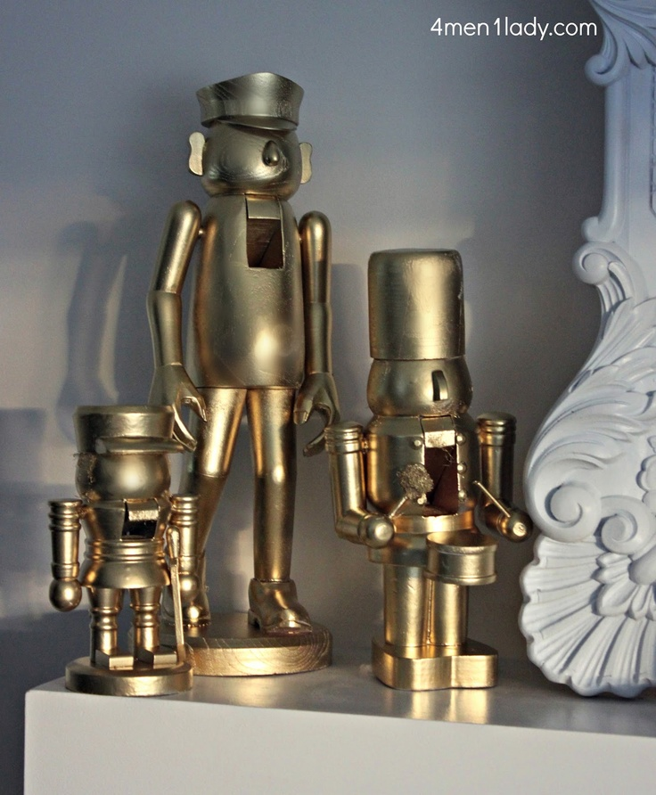 DIY Nutcrackers = spray paint ugly red and green nutcrackers! New life to old treasures