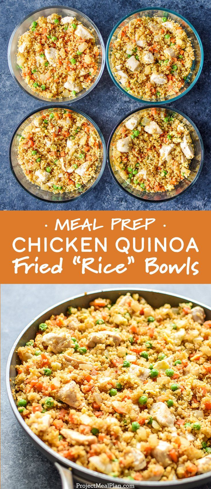 """A healthier fried """"rice"""" that's perfect for meal prep! Fried quinoa in place of rice with veggies and chunky chicken breast - you won't even know what's missing in these Meal Prep Chicken Quinoa Fried """"Rice"""" Bowls! - ProjectMealPlan.com #mealprep #quinoafriedrice #easymealprep #mealprepideas"""