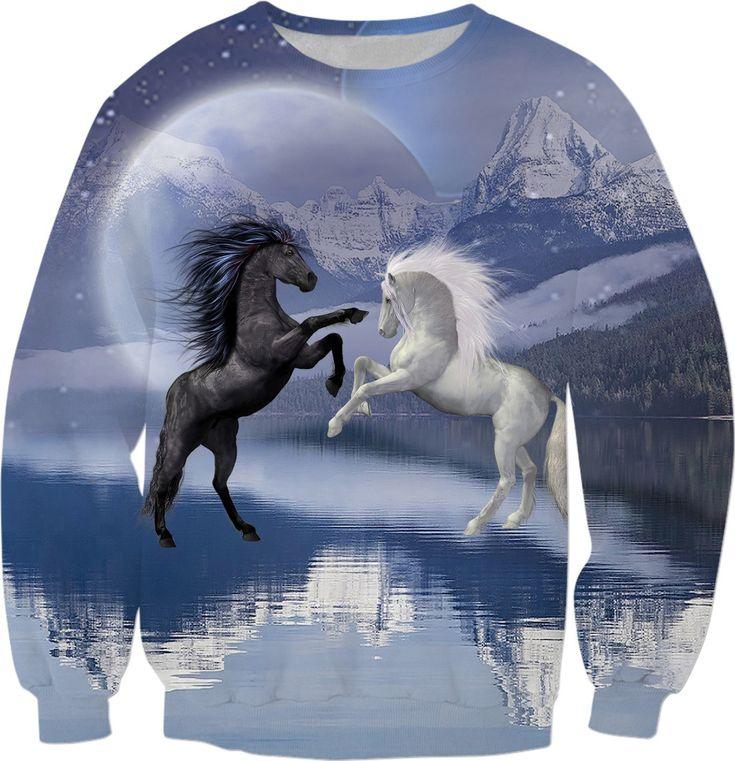 Horses and Moon Sweatshirt #rageon #erikakaisersot #sweatshirt #horses
