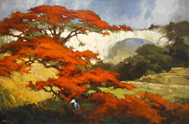 The Flame of the Forest (Flamboyant) - Basuki Abdullah - WikiArt.org