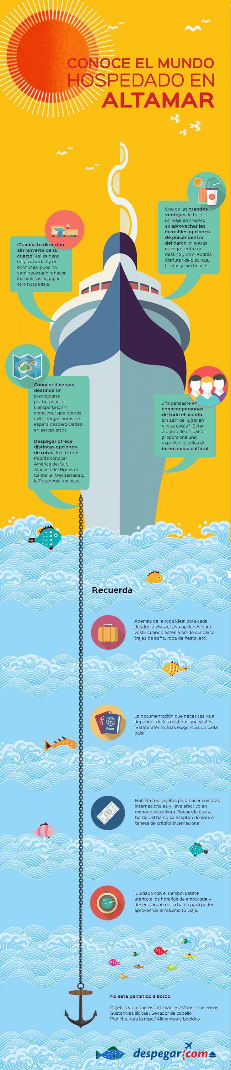 Si te gusta #viajar puedes optar por hacer un #viaje en un #crucero!! #Despegar te trae todos los tips en esta #infografia para viajar en #crucero de la mejor forma #trip #cruise #infographic #travel #despegar #viajar