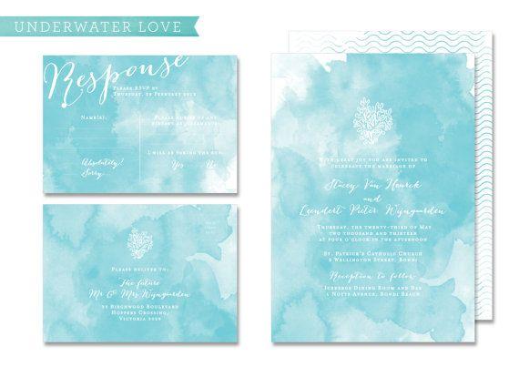 "DIY Printable Wedding Invitation  Response Postcard ""Underwater Love"""