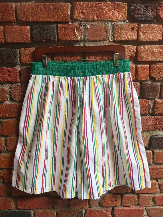 80's Skate Shorts Red White Yellow Green Comfortable