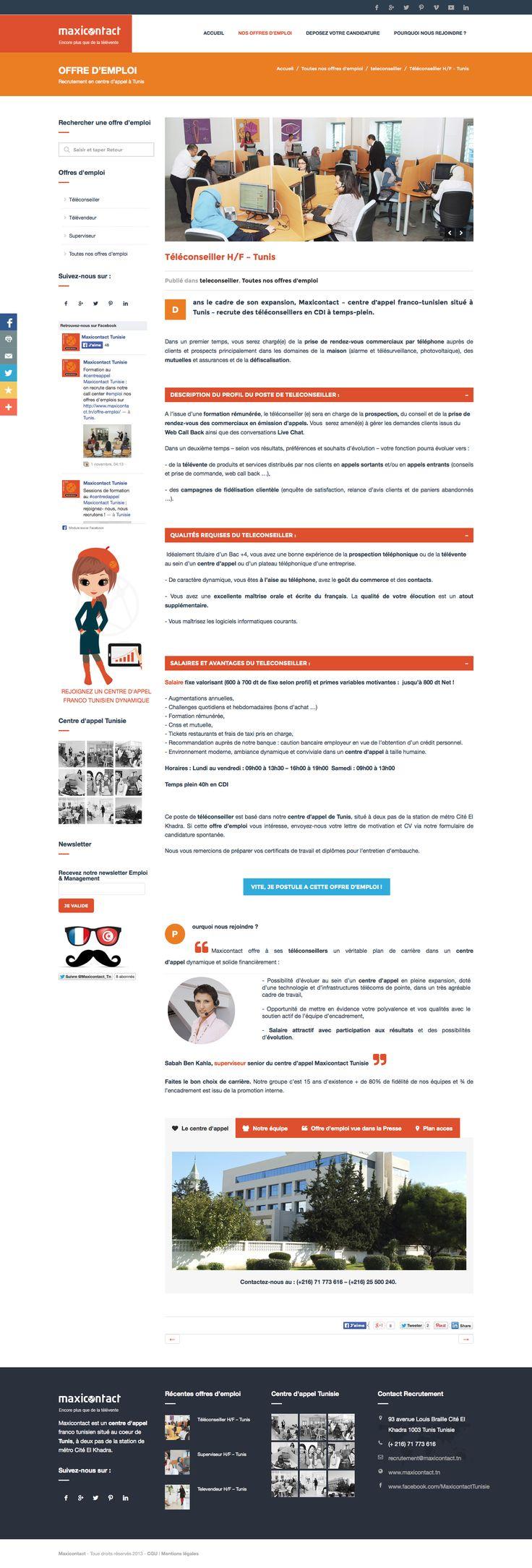 Site de recrutement du centre d'appel Maxicontact Tunisie : offre d'emploi teleconseiller publié sur http://www.maxicontact.tn/teleconseiller/ #centreappel