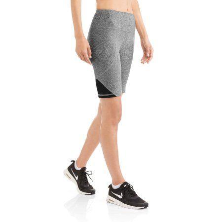 N.Y.L. Sport Women's High Waisted 10 inch Performance Bike Shorts With Tummy Control, Size: Medium, Gray