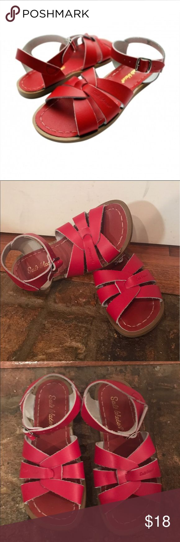 Girl salt water brand leather sandals Girl salt water brand leather sandals in a size 12 the color is red & they were only worn twice, excellent condition Salt Water Sandals by Hoy Shoes Sandals & Flip Flops