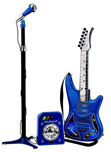 Kids Portable Karaoke Machine Set Electric Guitar Microphone Amplifier Pink Toy #SmartDealsMarket
