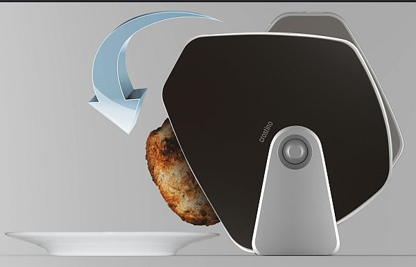 The toaster design by Crostino gives a new way to toasting with its interactive display and smart design.This easy-to-use toaster can be simply rotated to directly drop toast on to your plate. Unlike conventional toasters, you don't have to burn your fingers or catch toasts while toasting your breads.