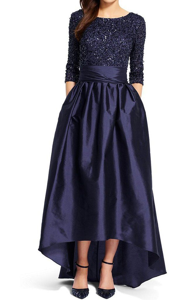 MACloth Half Sleeve Hi Lo Prom Dress Dark Navy Sequin Formal Evening Gown