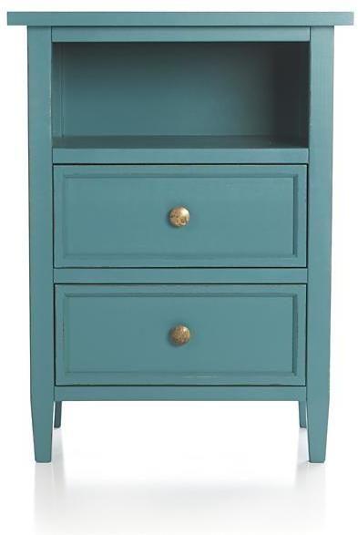 Crate & Barrel Harbor Blue 2-Drawer Nightstand on shopstyle.com