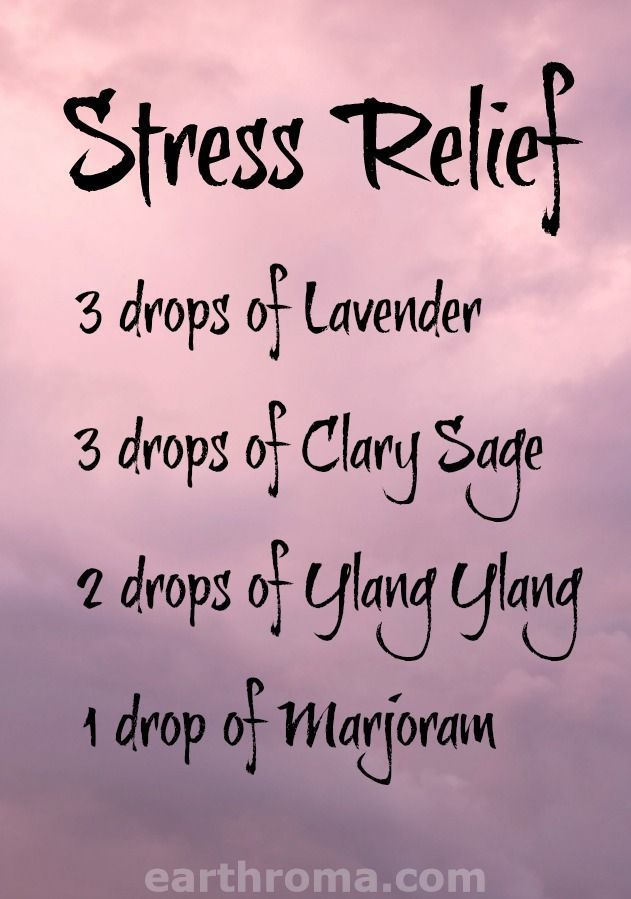 Essential Oil Stress Relief diffuser blend. 3 drops of Lavender essential oil. 3 drops of Clary sage essential oil. 2 drops of Ylang Ylang essential oil. 1 drop of Marjoram essential oil. Place in your diffuser and melt away the stress! https://earthroma.com/pages/essential-oil-uses-recipes