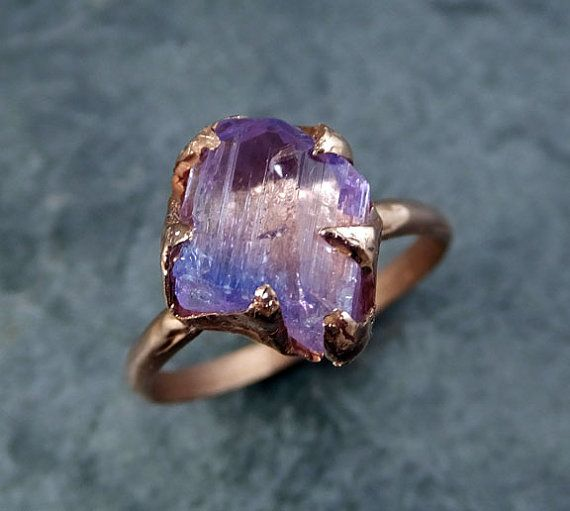 Raw Tanzanite Crystal Rose Gold Ring Rough Uncut Gemstone tanzanite recycled 14k stacking cocktail statement byAngeline    I created this setting in