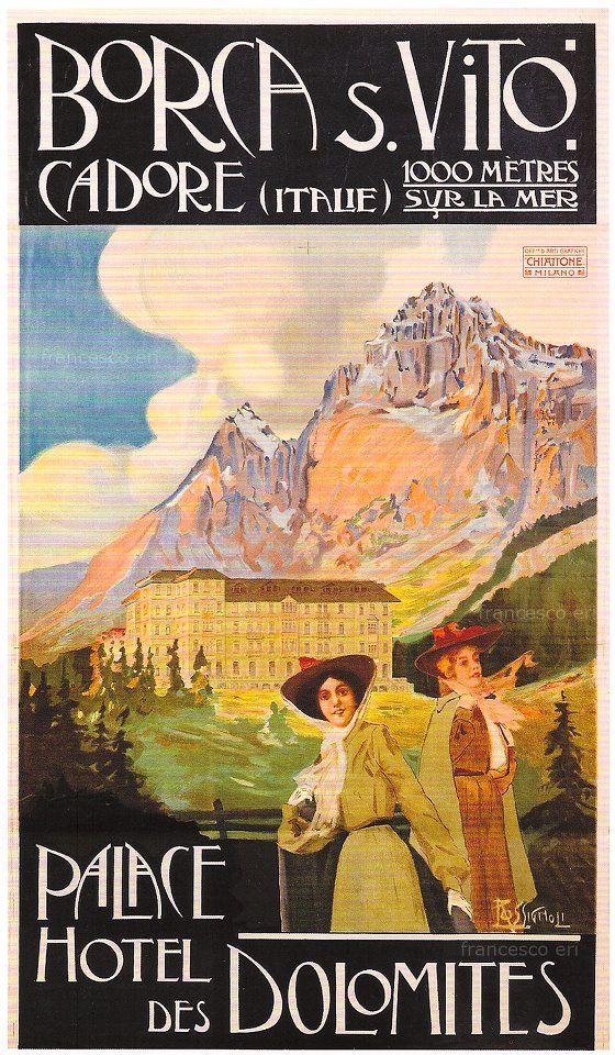 Vintage Travel Poster: Palace Hotel, Dolomites, Italy