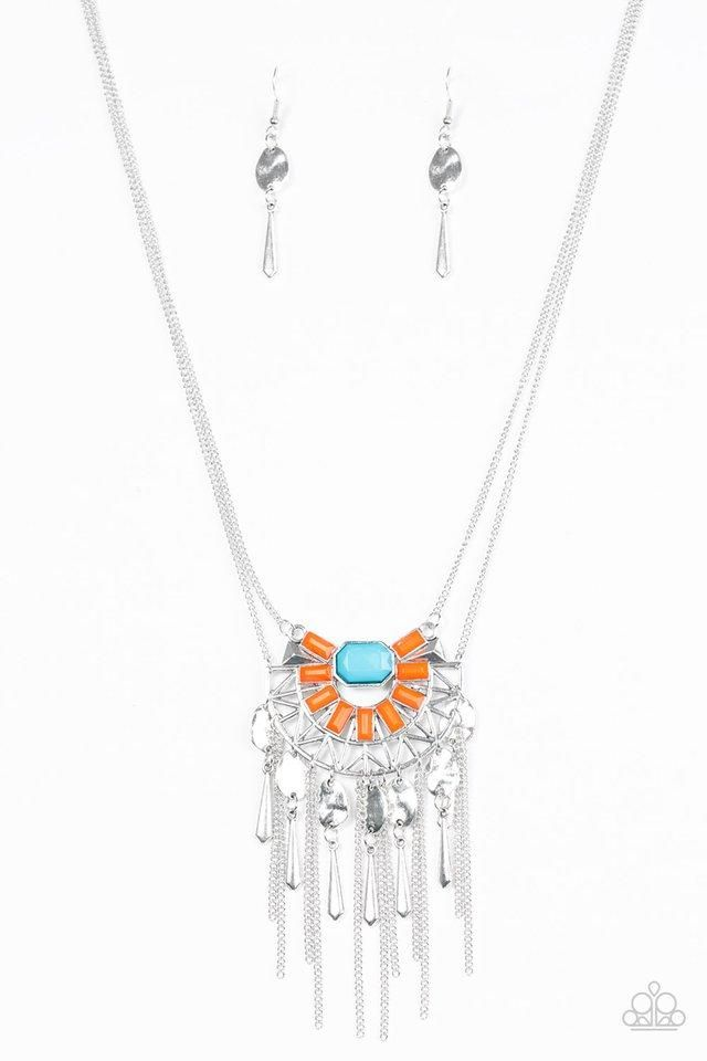 "Paparazzi ""Tribal Chief-ette"" Multi Orange Blue Tribal Pendant Silver Tone Necklace & Earring Set"