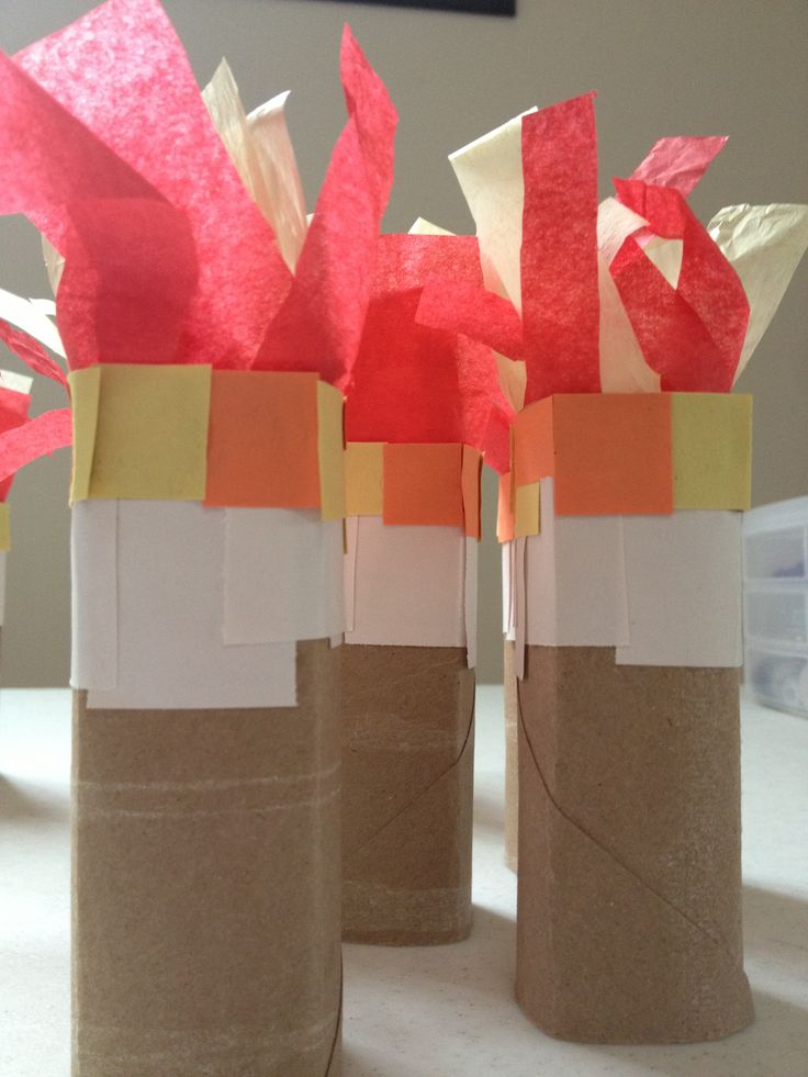 Minecraft torches made from toilet paper rolls i for Crafts to make out of toilet paper rolls