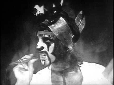 """""""Fire"""" by The Crazy World of Arthur Brown performed in the Top of the Pops studio, originally broadcast on 7-18--1968.  The same year Vincent Furnier created his Alice Cooper alter-ego."""