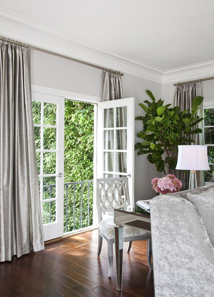 silver curtain inspiration. Gorgeous with owl grey walls!