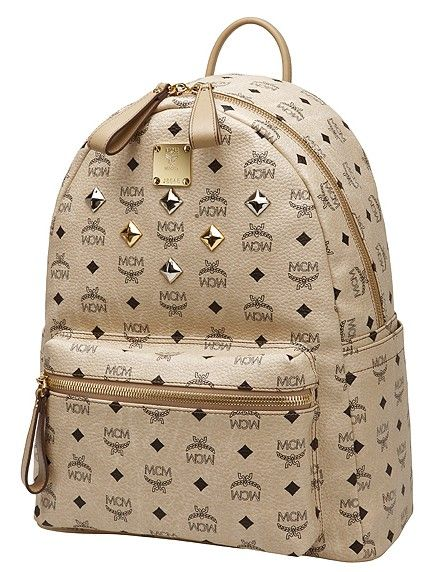 Beige MCM backpack also looks great!
