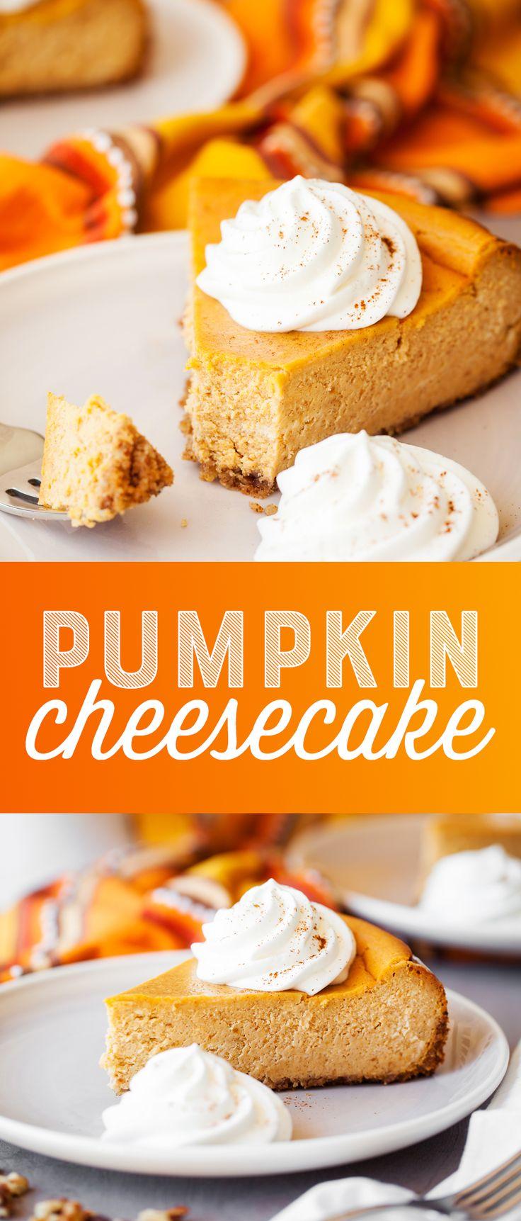 Pumpkin Cheesecake Recipe - This easy, creamy pump…