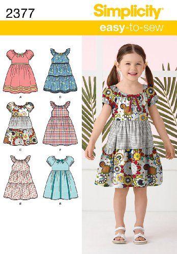 Patrón de costura para hacer varias versiones de un vestido de niña. Tallas de 3 a 8 años. Instrucciones en inglés y español. / Sewing pattern. Girl Dress. 3 to 8 sizes. Different versions. Easy to sew.