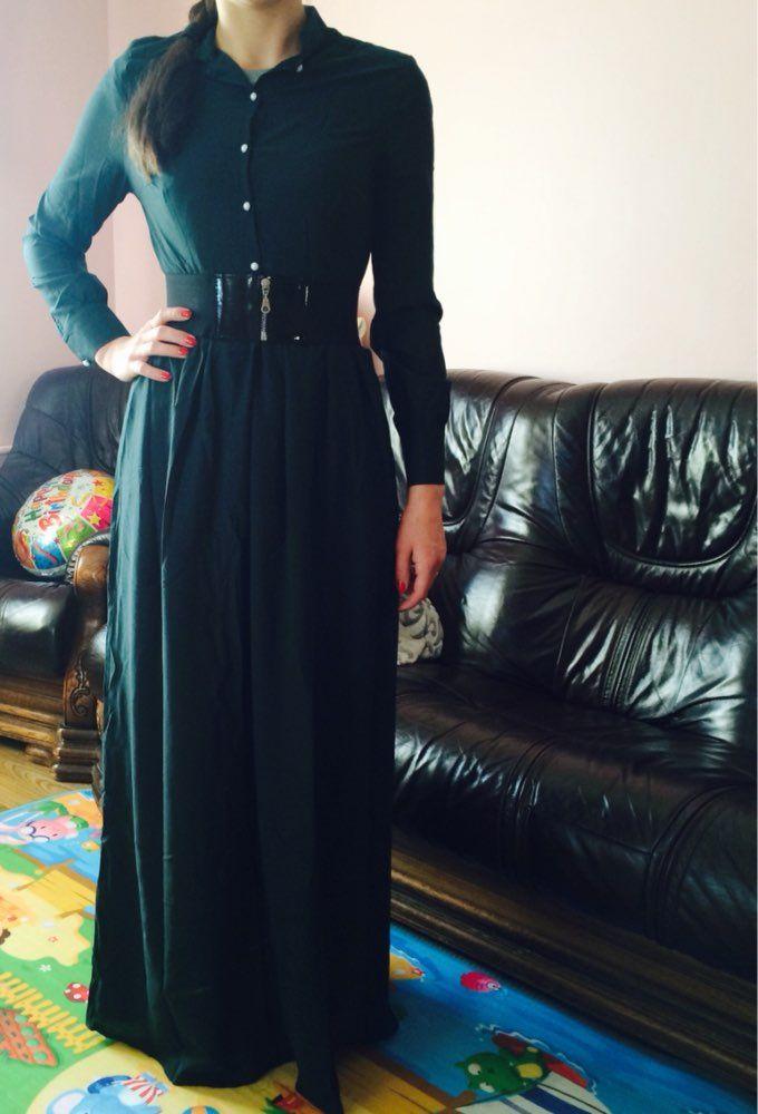 Новинка 2015. Летний стиль. Женское элегантное зелёное платье макси с длинным рукавом и круглым О-образным вырезом,…